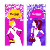 Banners com silhueta de compras das mulheres — Vetorial Stock