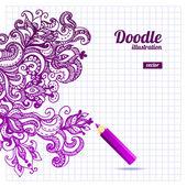 Doodle floral design — Stock Vector