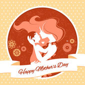 Happy Mother's Day. Card with beautiful silhouette of mother and baby in vintage style — Stock Vector