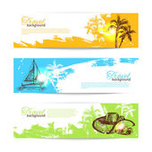 Banner set of travel colorful tropical splash backgrounds — Stock Vector