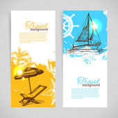 Banners of travel colorful tropical design. Splash blob backgrounds — Stock Vector
