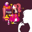 Beautiful woman silhouette with fashion icons. Shopping girl. El — Stock Vector