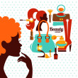 Stock Vector: Beautiful woman silhouette with fashion icons. Shopping girl. El