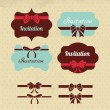 Collection of vintage labels, ribbons and bows Elements for desi — Stock Vector