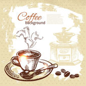 Hand drawn vintage coffee background — Stock Vector