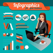 Business nfographics. Set of infographics elements and beauty bu — Vector de stock