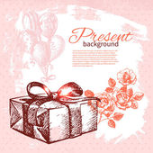 Hand drawn vintage present background with gift box. Vector illu — Stock Vector