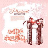 Mão desenhada vintage fundo presente com caixa de presente. vector illu — Vetorial Stock