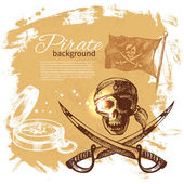 Pirate vintage background. Sea nautical design. Hand drawn illus — Stock Vector