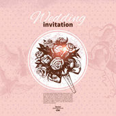 Wedding invitation. Hand drawn illustration — Stock vektor