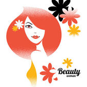 Beautiful girl silhouette in retro style with flowers — Stock Vector