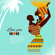 Beautiful silhouette of black african mother and baby in retro s — Stock Vector
