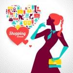 Shopping woman silhouette. Elegant stylish design — Stock Vector