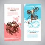 Wedding invitations. Banner set of vintage hand drawn wedding ba — Stock Vector