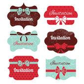 Set of vintage frames. Stickers for wedding design — Stock Vector