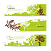 Banner set of vintage olive background splash backgrounds — Stock Vector