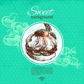 Vintage sweet background. Hand drawn illustration. Menu for rest — Stock Vector