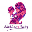 Mother and baby silhouettes — Stock Vector