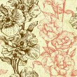 Vintage motif floral sans soudure. illustration dessinée à la main — Vecteur