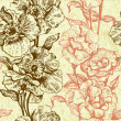 Vintage seamless floral pattern. Hand drawn illustration — ストックベクタ