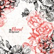 Royalty-Free Stock Vector Image: Vintage floral background. Hand drawn illustration of roses and