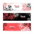 Banners with floral background. Hand drawn illustration of roses - Stock Vector