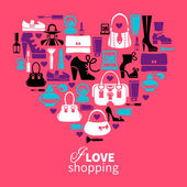 Shopping love - heart with set of vector fashion women's icons — Stock Vector