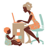 Beautiful silhouette of mother - freelancer with notebook and — Stock vektor