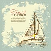 Travel hand drawn vintage tropical design. Splash blob retro bac — Stock Vector