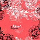 Vintage floral background. Hand drawn illustration of roses — Stock Vector