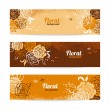 Banners with floral background. Hand drawn illustration of roses — Stock Vector