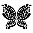 Beautiful butterfly tattoo. Artistic pattern in butterfly shape — Stock Vector
