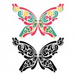 Beautiful butterfly tattoo. Artistic pattern in butterfly shape. — Stock Vector #25044511