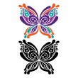 Beautiful butterfly tattoo. Artistic pattern in butterfly shape. — Stock Vector #25044519