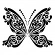Beautiful butterfly tattoo. Artistic pattern in butterfly shape. - Stock Vector