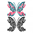 Stock Vector: Beautiful butterfly tattoo. Artistic pattern in butterfly shape.