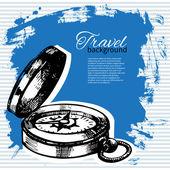 Travel vintage background. Sea nautical design. Hand drawn illus — Stock Vector
