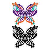 Beautiful butterfly tattoo. Artistic pattern in butterfly shape. — Stock vektor