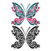 Krásný motýl tetování. umělecký vzor ve tvaru motýla. — Stock vektor