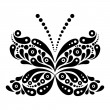 Beautiful butterfly tattoo. Artistic pattern in butterfly shape. — Stock Vector