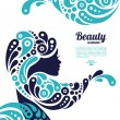 Beautiful woman silhouette. Tattoo of abstract girl hair. Marine - Vettoriali Stock