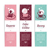 Set of vintage bakery banners with cupcakes. Menu for restaurant — Stock Vector