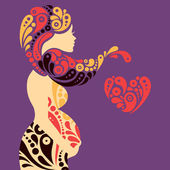 Pregnant woman silhouette with abstract decorative flowers and h — Stock Vector