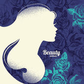 Beautiful girl silhouette. Vintage retro background with hand dr — Stock Vector