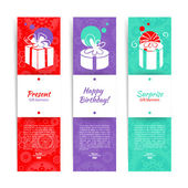 Set of stylish banners with present background with gift box. Ve — Stock Vector