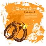 Oktoberfest vintage background. Hand drawn illustration — Stock Vector #26245577