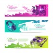 Stock Vector: Vintage banners of music design. Set of hand drawn Dj background