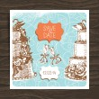 Wedding invitation card. Vintage hand drawn illustration — Stock Vector #26245651