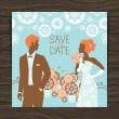 Wedding invitation card. Vintage illustration with newlyweds — Stock Vector