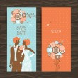 Wedding invitation card. Vintage illustration with newlyweds - Stock Vector